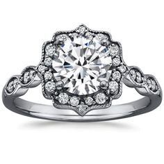 18K White Gold Black Rhodium Cadenza Halo Diamond Ring from Brilliant Earth