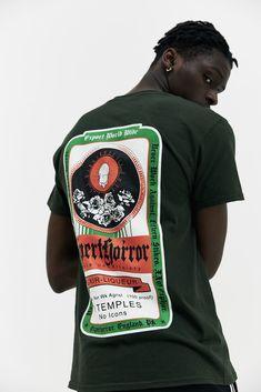 EXPERT HORROR Alcohol T-Shirt AW17 A/W17 Alcohol Graphic Jägermeister Bottle Green