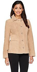 Cute fall women's #fashion - Dennis Basso Washable Suede Shirt Collar Button Front Jacket