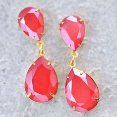 Bright red swarovski crystal double drop dangle rhinestone earrings. Cherry red hot!