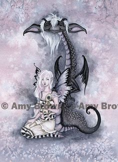 Beasties Evie and the Nightmare 8.5x11 Fairy and monster pet Print by Amy Brown