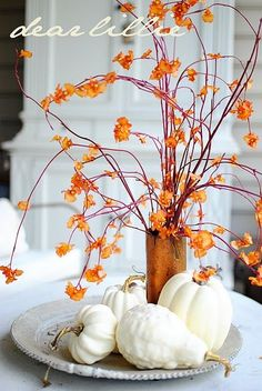 Fall Decorating. white & orange