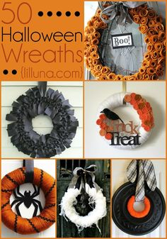 50 Halloween Wreaths to DIE FOR! These are sure to inspire you for making your own!! { lilluna.com }