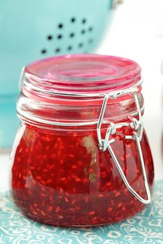 Old Fashioned Raspberry Preserves - so easy and so full of fresh raspberry flavor. Make six delicious little jars of sunshine in less than 30 minutes!