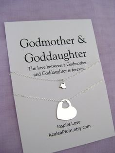 GODMOTHER Gift Solid Sterling Silver Necklace Godmother Goddaughter GODDAUGHTER For