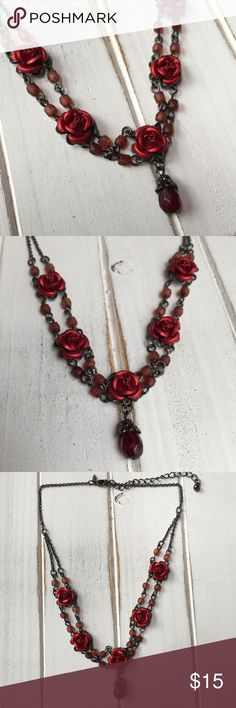 """Red Rose 🌹Choker Necklace Red Rose 🌹Choker Necklace. Very cute in person. Pre owned. Great condition. Darker pewter grey colored chain. Lobster claw. Length 14.5"""". Extension 3"""" Avon Jewelry Necklaces"""