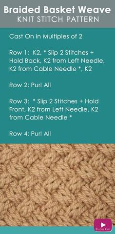 How to Knit the Basket Weave Stitch Diagonal Braided + Woven Cables with Free Knitting Pattern + Video Tutorial by Studio Knit via @StudioKnit
