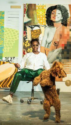 Mickalene Thomas in Brooklyn Studio African American Artist, American Artists, Black Female Artists, Famous Black Artists, Artist Aesthetic, Brooklyn, National Portrait Gallery, Famous Art, Branding