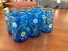 Set Of Vintage Mid Century Blue Drinks Glasses With Mod Flowers