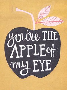 Apple Of My Eye from 1Canoe2, apple, you're the apple of my eye, art, print, apple, nursery, nursery art, 1Canoe2, letterpress