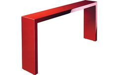 red console table for a narrow hallway