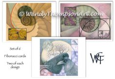Fibonacci art note cards - NEW Set of 6, Two of each original design