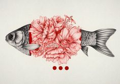 Fish & Pink Flowers