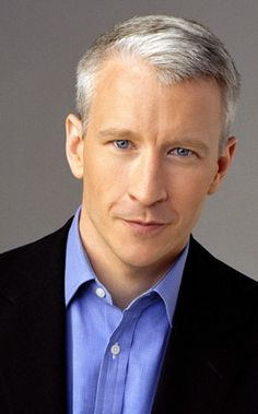 Anderson Cooper- silver fox of the newsroom.....look at those gorgeous blue eyes. ...its no wonder I can't concentrate on news cast.....