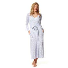 Viscose spandex knit robe with waist tie & side pockets.