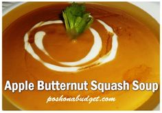 Apple Butternut Squash Soup Recipe Simple ingredients & SO delish! Fall Recipes, New Recipes, Soup Recipes, Vegetarian Recipes, Cooking Recipes, Favorite Recipes, Butternut Squash Soup, Acorn Squash, Good Food