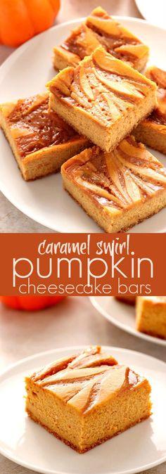Caramel Swirl Pumpkin Cheesecake Bars - sweet and creamy cheesecake bars with pumpkin, spice and caramel swirl! A must make dessert this season!