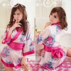 สาวน้อยน่ารัก ใรเครื่องแบบชุดกิโมโนคอสเพลย์เซ็กซี่ สไตล์ญ่ปุ่น ลายดอกไม้สีชมพูเรียบหรู พร้อมส่งแล้วจ้า สั่งเลยจ้า
