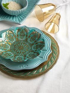 The Vietri Aqua Laurel and Damsak Dinnerware shapes are inspired by an overlapping wooden mold, used for centuries to form Parmesan and other cheeses throughout Italy. Truly stunning! Take advantage of the SALE on all Vietri products until 3/21 at 9 am. http://www.belleandjune.com/Browse/Category/139/Vietri