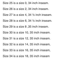 Silver Jeans Size Conversion Chart | Clothing | Pinterest | Charts ...