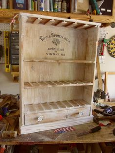 Wine Vintage Inpired French Stile 12 Cup Cedar Rack by WingsOfWood, $200.00