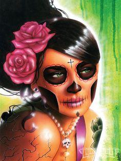 Lowrider Art Girls | girl with day of dead makeup # art # arte # lowrider arte magazine