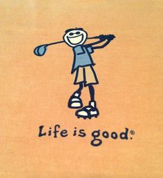 Life Is Good T Shirt Tee Golfer #Golf Adult XL Mustard Color Cotton Gently Used  #LifeisGood #GraphicTee