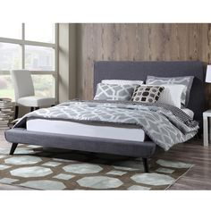 Nixon Mid-century Grey Linen Bed - Overstock™ Shopping - Great Deals on Beds