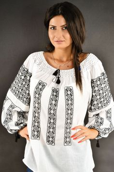 Ie traditionala Camelia Bell Sleeves, Bell Sleeve Top, Embroidered Shirts, Bridal Dresses, Crafting, Costume, Wedding, Tops, Women