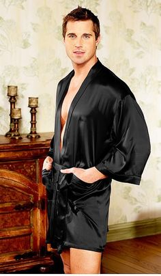This luxurious men's Silk Charmeuse Kimono Robe has large sleeves, self tie, and is long and is unisex - also looks great on her! In three great colors: Black, Cobalt Blue, Red. Mens Silk Pajamas, Men's Robes, Big Men Fashion, Men's Fashion, Lycra Men, Lingerie For Men, Short Kimono, Silk Charmeuse, Well Dressed Men