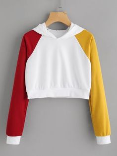 new product b4e04 93cb0 Multi-Color Contrast Crop Raglan Sleeve Hoodie