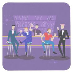 Retro Gay Bar Hard Paper Coaster