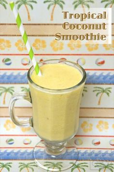 """How to make a lactose free shake Tropical Coconut Smoothie """"Tropical Coconut Smoothie recipe with coconut milk, frozen fruit such as bananas, and juice. Creamy but lactose-free. 4 ingredients - easy and all-natural."""""""