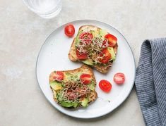 This is a heartier spin on avocado toast, as it includes hummus, tomatoes, and sprouts—plus a hint of smoke from the paprika.