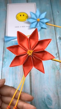 Origami Flowers 839710293010673090 - Source by koumvana Diy Origami Blume, Instruções Origami, Paper Crafts Origami, Paper Crafting, Origami Videos, Origami Wall Art, Origami Boxes, Dollar Origami, Origami Decoration