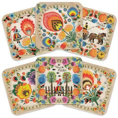 Cork Coasters - Polish Folk Art (Wycinanki), Set of 6