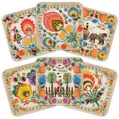 Cork Coasters - Polish Folk Art (Wycinanki), Set of 6