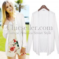 ChicSeller Long Sleeve White Sun Block Outerwear
