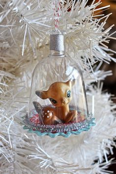 Retro Fawn Diorama Ornament by CheshireKat on Etsy - I think these are plastic wine glasses!