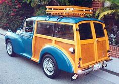 Classic Wood - anybody know the make/model? Aye, Morris Minor likely Traveller with rear metal panels switched for pretty wooden panels, or veneer over metal since metal are structural element. Want to dom this with Woodrow. Morris Traveller, British Sports Cars, British Car, American Sports, Woody Wagon, Morris Minor, Classy Cars, Cute Cars, Small Cars