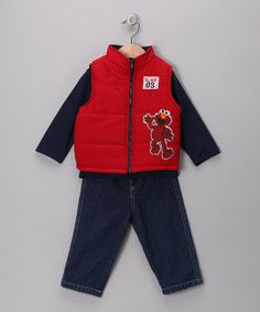 Take a look at this Red Elmo Vest Set - Infant by Sesame Street on #zulily today!
