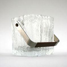 Vintage Cystal Ice Bucket. Wine Cooler. Textured Glass. Mid Century. Eames. Vintage Barware. Winter Snow. Danish Modern. Retro. Vestiesteam.