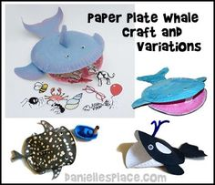 Paper Plate Whale Craft for Jonah and the Whale with variations from users on  www.daniellesplace.com