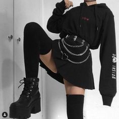 unusual grunge outfits ideas for women to try this season 32 ~ Modern House. - - unusual grunge outfits ideas for women to try this season 32 ~ Modern House Design Source by zbielewicz Grunge Outfits, Punk Outfits, Tumblr Outfits, Mode Outfits, Grunge Fashion, Trendy Outfits, Fashion Outfits, Cute Goth Outfits, Fasion