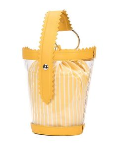 clear bucket bag YELLOW - WOMEN | The Webster Cold Shoulder Shirt, Shoulder Shirts, Checked Trousers, Look Girl, Lisa Marie Fernandez, Yellow Leather, Hat Sizes, Bucket Bag, Pouch