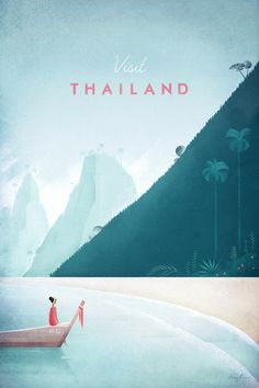 Thailand Vintage Travel Poster by Henry Rivers | Prints of this illustration available from Travel Poster Co.