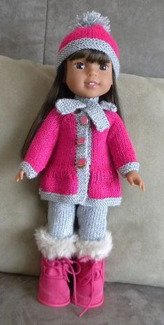 dollie-clothes – Sharon Stevens dollie-clothes Coat, pants, hat and scarf for American Girl dolls — free pattern Knitting Dolls Clothes, Baby Doll Clothes, Crochet Doll Clothes, Doll Clothes Patterns, Barbie Clothes, Sewing Dolls, Knitted Doll Patterns, Knitted Dolls, Knitting Patterns Free
