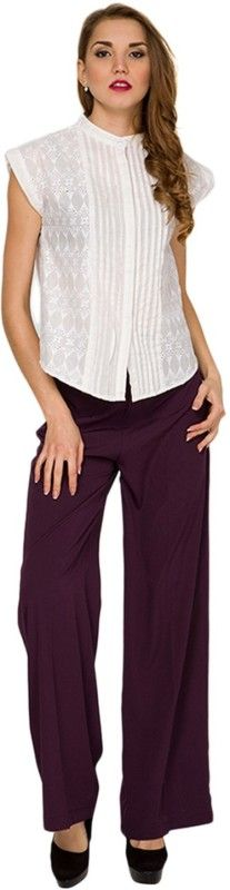 #Apparels #Women #Western Wear #Trousers & Capris #Trousers  Look distinctively chic in these breezy and Plain Solid Cotton Lycra pallazo from Sizzlacious. It is guaranteed to be one of your most comfortable garment in your closet . Dare to try this, its the recent trends hottest style. Look cool and and stylish. So grab one today!