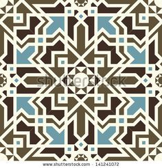 Arabesque seamless pattern in blue and brown in editable vector file - stock vector