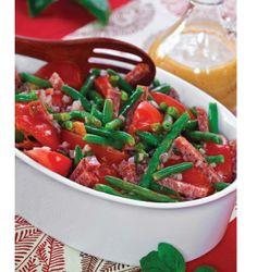 "CLICK PIC  2x for Recipe....  ..Green Bean, Tomato, and Salami Salad with Tangy Italian Dressing... ...Recipe by George Stella... ...For tons more Low Carb recipes visit us at ""Low Carbing Among Friends"" on Facebook"